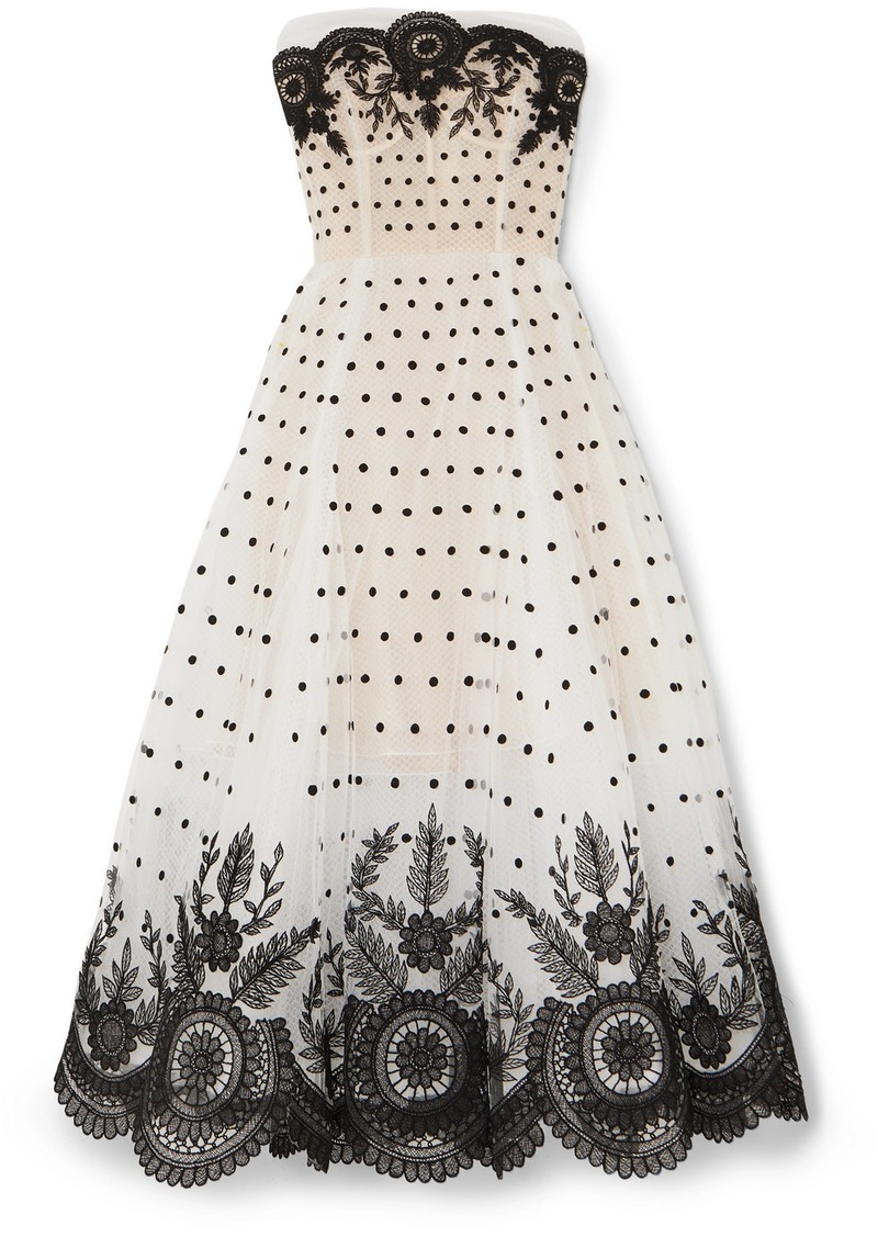Oscar de la Renta Strapless Embroidered Tulle Gown