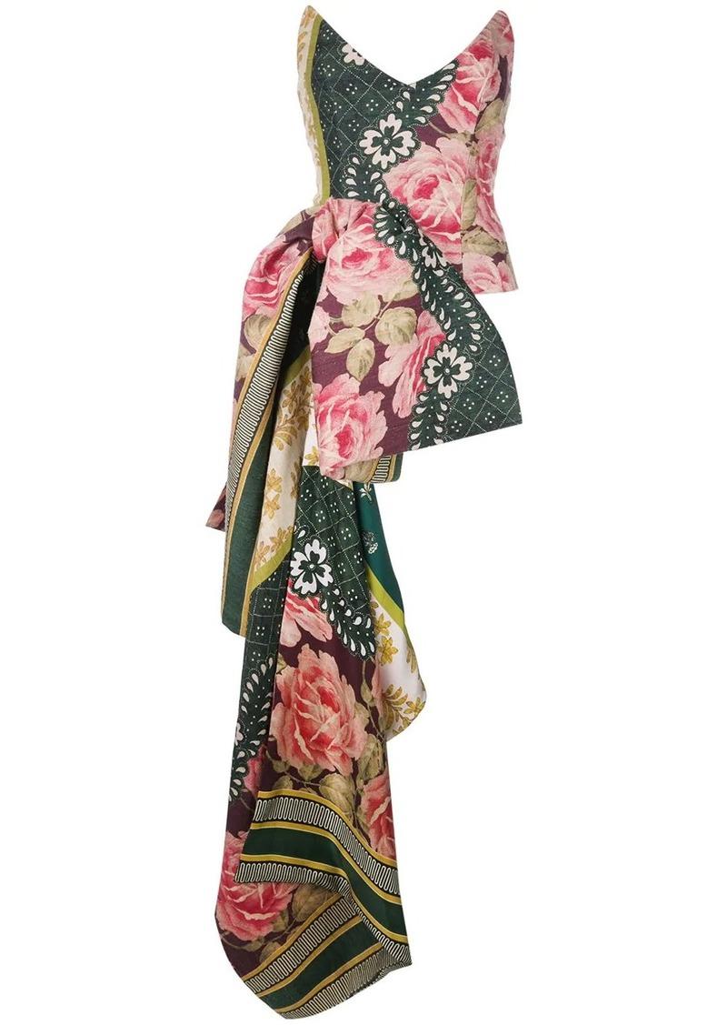 Oscar de la Renta strapless floral asymmetric-bow bustier