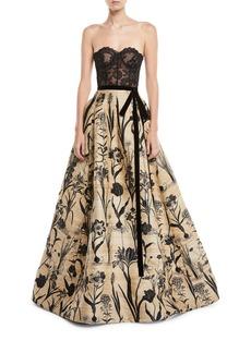 Oscar de la Renta Strapless Lace Bustier Full-Skirt Evening Ball Gown