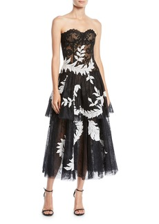 Oscar de la Renta Strapless Lace Leaf-Embroidered Tiered Tulle Evening Gown