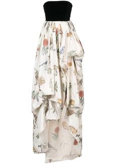 Oscar de la Renta strapless velvet bodice gown