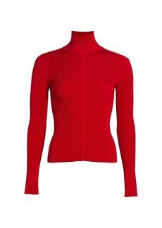 Oscar de la Renta Stretch-Silk Ribbed Turtleneck Sweater