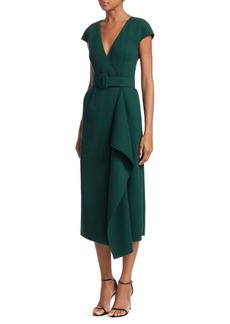 Oscar de la Renta Stretch Wool Plunging Wrap Dress