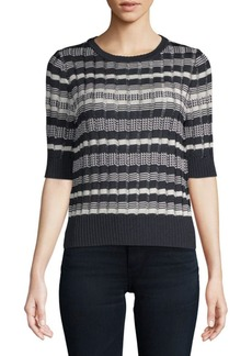Oscar de la Renta Stripe Jewelneck Top