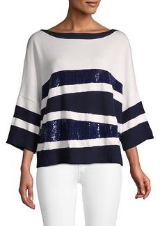 Oscar de la Renta Striped Wool Sweater