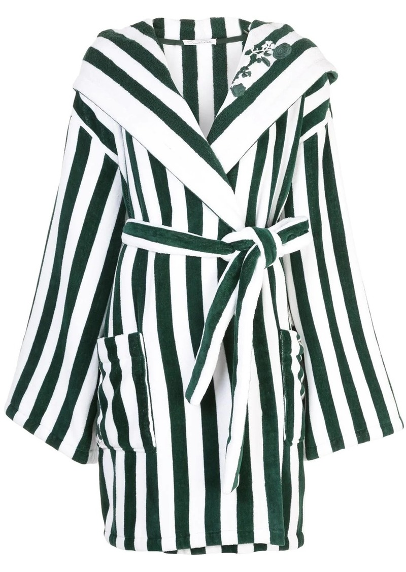 Oscar de la Renta striped wrap-around coat