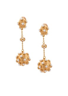Oscar de la Renta studded ball teardrop earrings