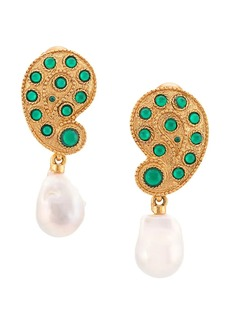 Oscar de la Renta Taj drop pearl earrings