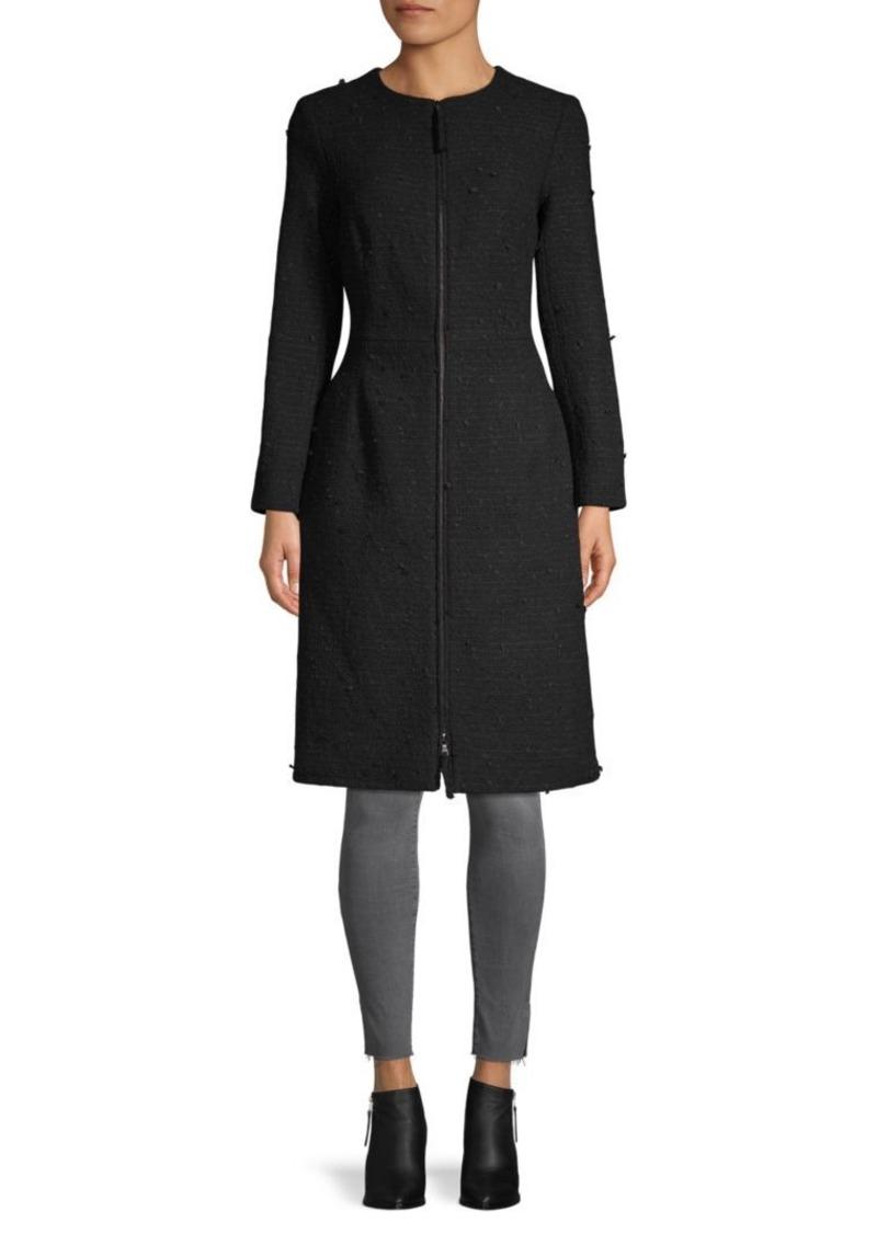 Oscar de la Renta Textured Cotton-Blend Long Coat