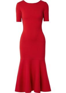 Oscar de la Renta Tie-back Wool Midi Dress