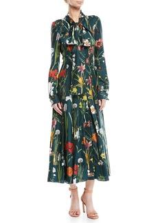 Oscar de la Renta Tie-Neck Button-Front Long-Sleeve Garden-Print Long Silk Dress
