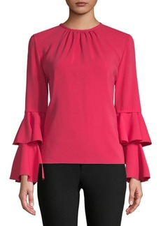 Oscar de la Renta Tiered Bell-Sleeve Top