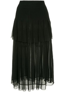 Oscar de la Renta tiered box pleated skirt