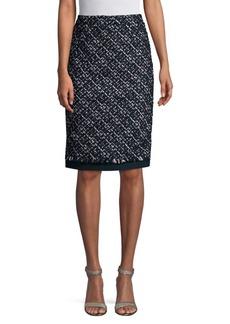Oscar de la Renta Tinsel Tweed Pencil Skirt