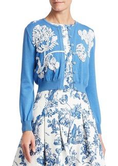 Oscar de la Renta Toile du Joie Virgin Wool Embellished Cardigan