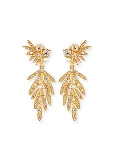 Oscar de la Renta Tropical Palm Crystal Clip-On Earrings