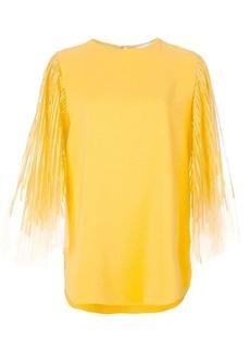 Oscar de la Renta tulle sleeve blouse