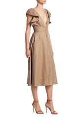 Oscar de la Renta V-Neck Ruffle Sleeve Midi Dress