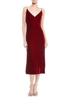Oscar de la Renta V-Neck Sleeveless Velvet Slip Cocktail Dress