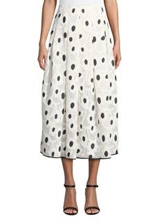 Oscar de la Renta Velvet Dotted Tea-Length Skirt