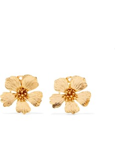 Oscar de la Renta Wildflower Gold-tone Clip Earrings