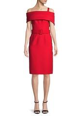 Oscar de la Renta Wool & Silk Cold-Shoulder Dress