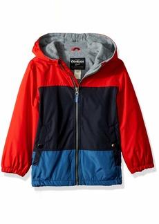 OshKosh Osh Kosh Boys' Toddler Jersey-Lined Lightweight Jacket red/Navy/Barbados Blue