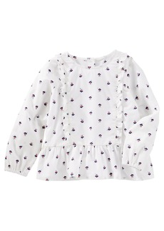 OshKosh Osh Kosh Girls' Toddler Long Sleeve Fashion Top White dot Floral
