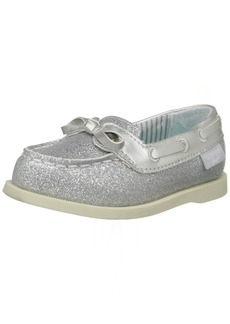 OshKosh B'Gosh Georgi Girl's Glitter Boat Shoe Silver