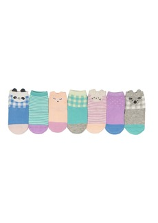 OshKosh B'Gosh Girls' Little Crew Socks (7 Pack) Days of The Week/Animals Green