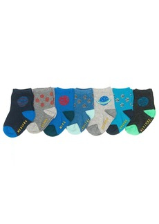 OshKosh B'Gosh Boys' Crew Socks (7 Pack) Planets-Outter Space 8 and up
