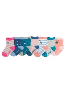 OshKosh B'Gosh Little Girls' Crew Socks (7 Pack) Days of the Week-Faces 8 and up