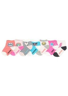 OshKosh B'Gosh Little Girls' Quarter Crew Socks (7 Pack) Days of the Week-Emoji Patches