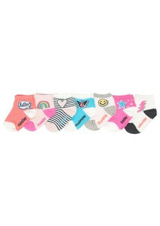 OshKosh B'Gosh Little Girl Quarter Crew Socks (7 Pack) Days of The Week-Emoji Patches