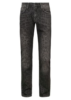 Ovadia & Sons Slim Washed Leopard-Print Jeans