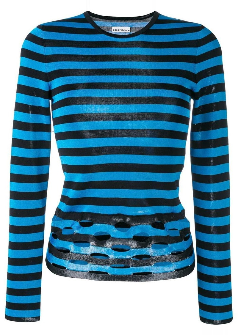 Paco Rabanne perforated stripe jumper