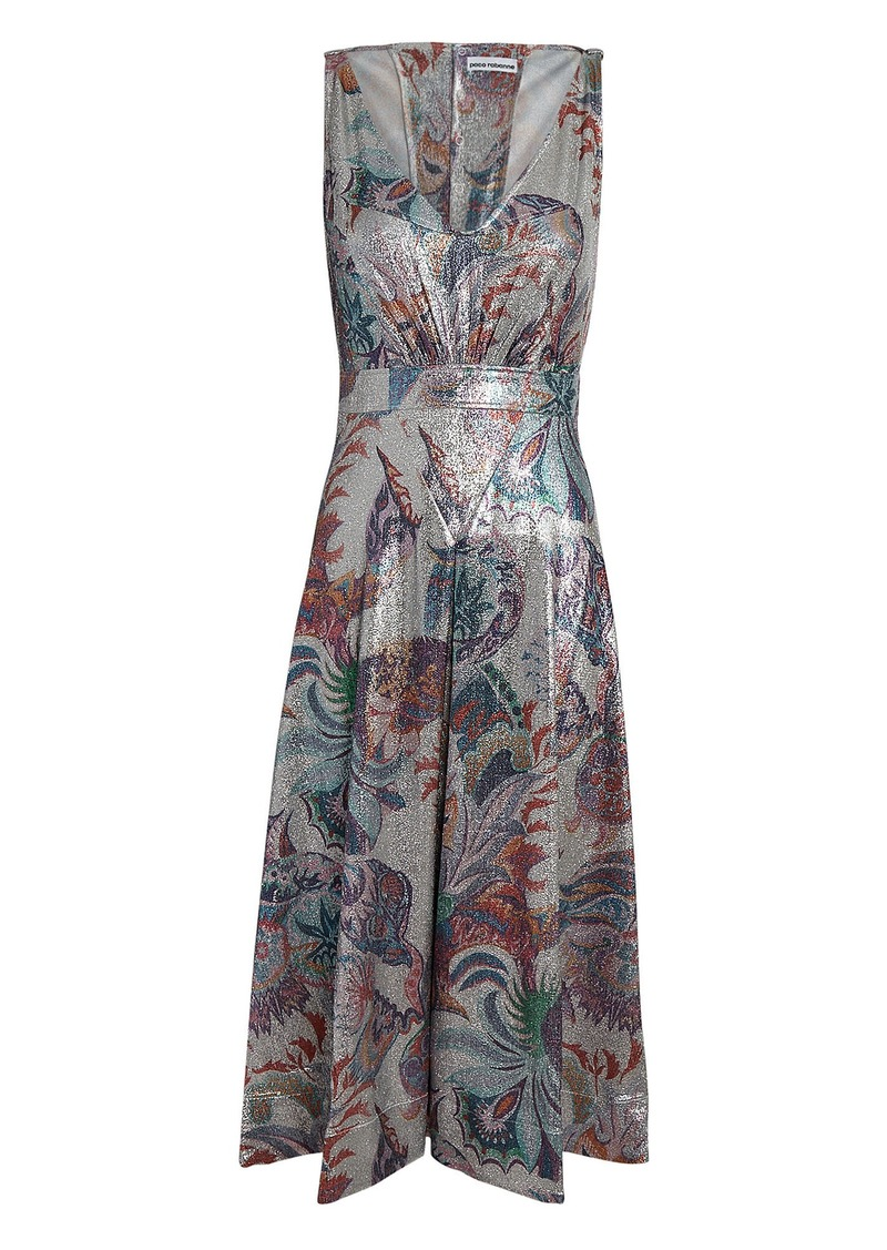 Paco Rabanne Abstract Print Lamé Midi Dress