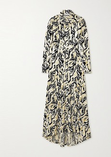 Paco Rabanne Asymmetric Metallic Velvet-jacquard Shirt Dress