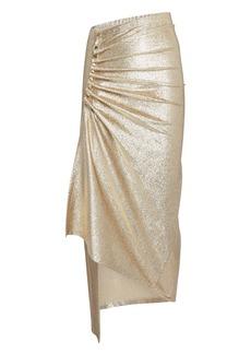 Paco Rabanne Asymmetric Ruched Metallic Midi Skirt
