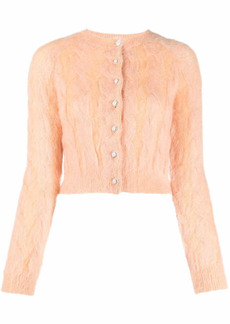 Paco Rabanne cable-knit fluffy cardigan