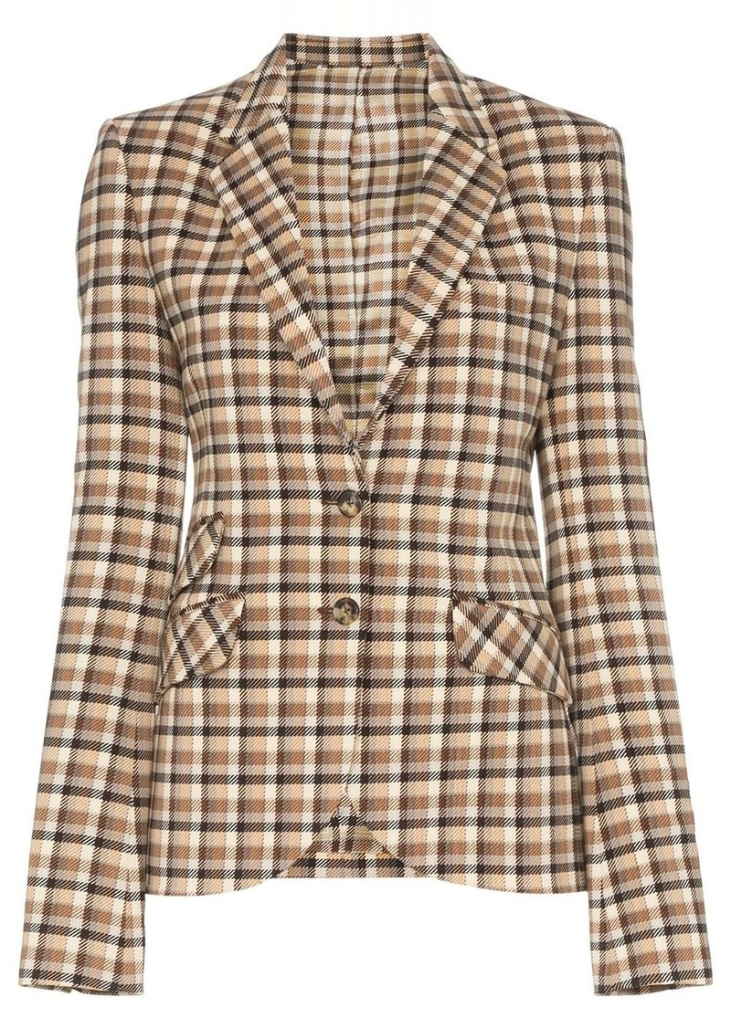 Paco Rabanne check-print fitted blazer