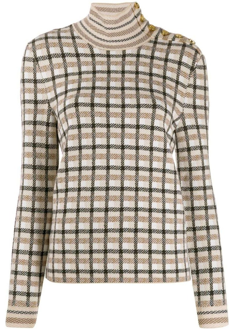 Paco Rabanne check roll-neck jumper