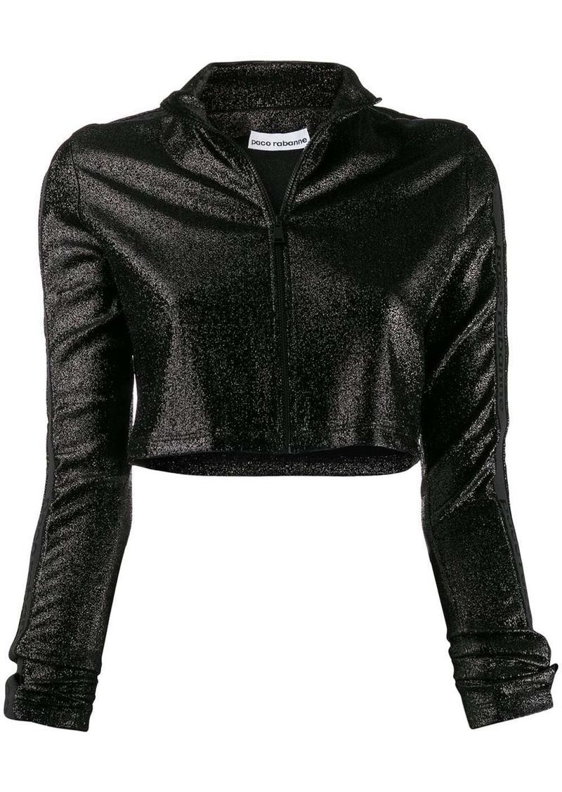 Paco Rabanne cropped glitter zip-up jumper