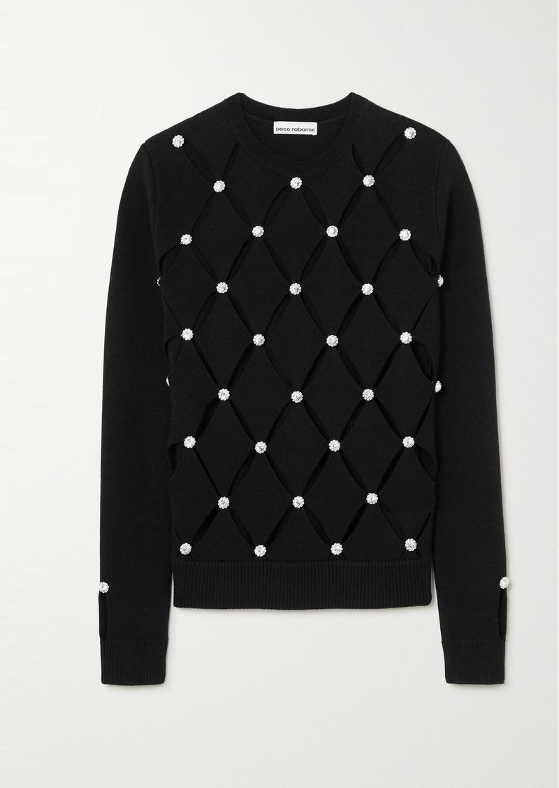 Paco Rabanne Crystal-embellished Cutout Merino Wool Sweater