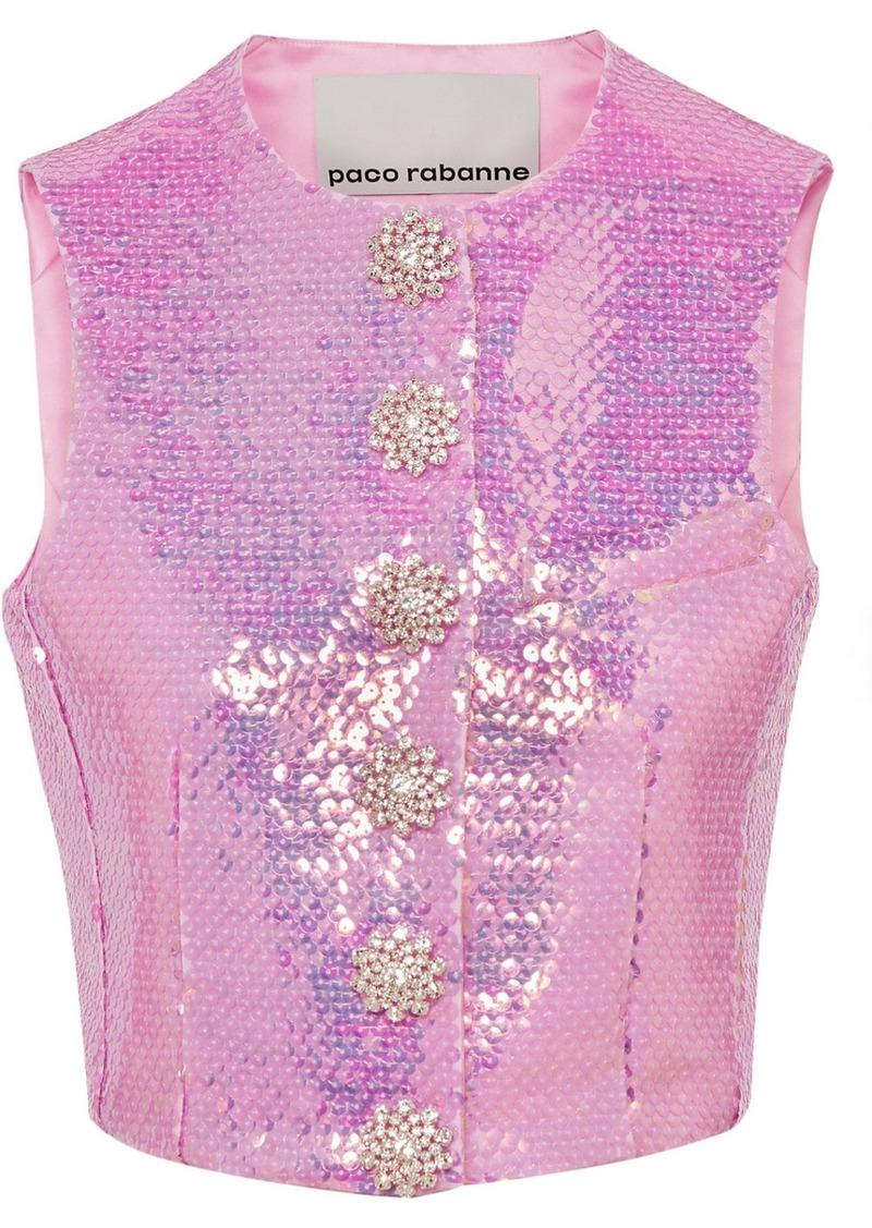 Paco Rabanne Crystal-embellished Sequined Satin Vest