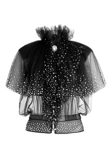 Paco Rabanne Crystal Embellished Tulle Top