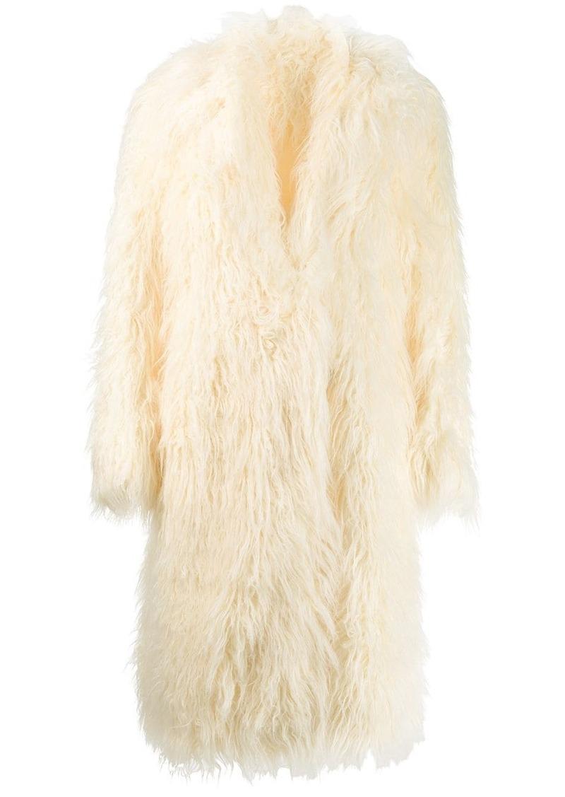 Paco Rabanne faux fur oversized coat