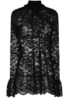 Paco Rabanne floral lace semi-sheer blouse