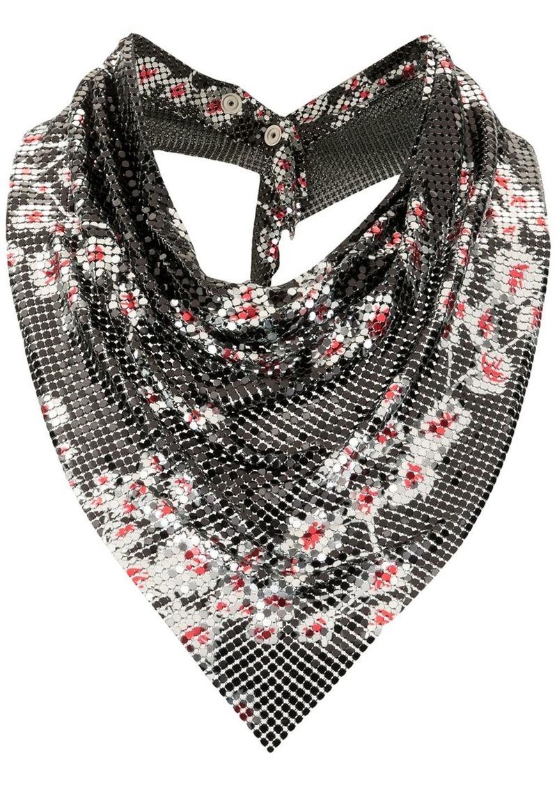 Paco Rabanne floral mesh scarf