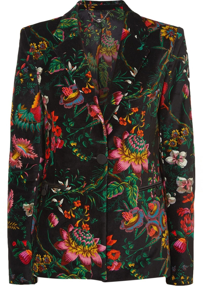 Paco Rabanne Floral-print Cotton-blend Velvet Blazer